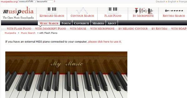 Искать песню с Musipedia можно, проиграв её на виртуальной клавиатуре пианино