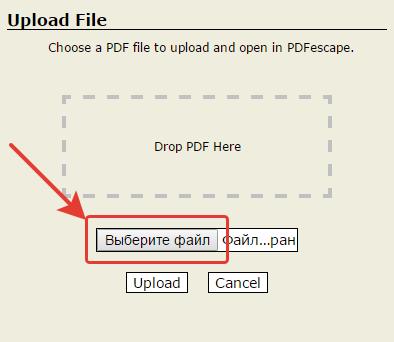 Кнопка «Выберите файл»