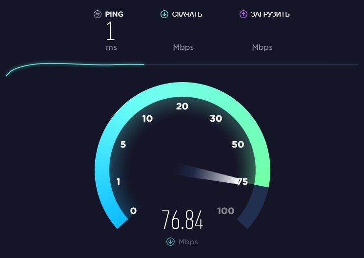 Окно начала проверки скорости интернета на Speedtest