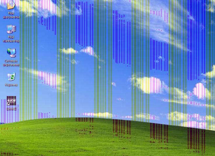 Разноцветные полосы при повреждении видеокарты