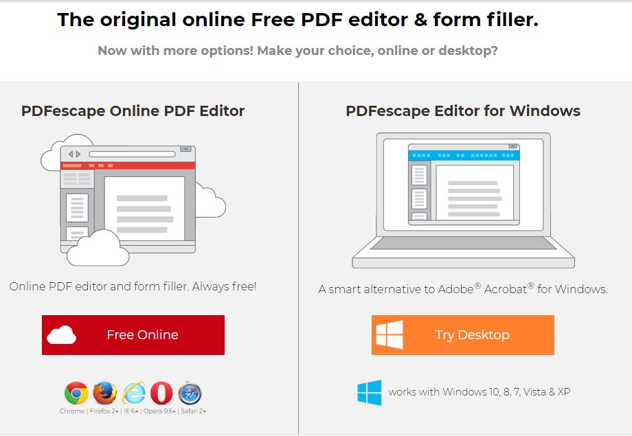 Редактирование файла с помощью PDFescape