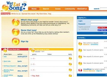 WatZatSong - это социальный сайт, на котором можно загрузить небольшую аудиозапись в формате MP3 и люди помогут вам ее найти