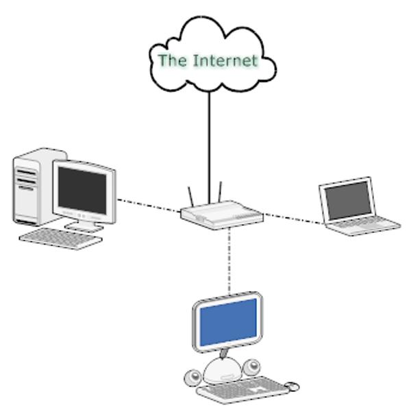 Беспроводной маршрутизатор отправляет двоичный сигнал по воздуху на совместимое приемное устройство