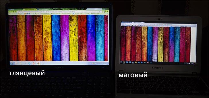 Фотография глянцевого и матового экрана