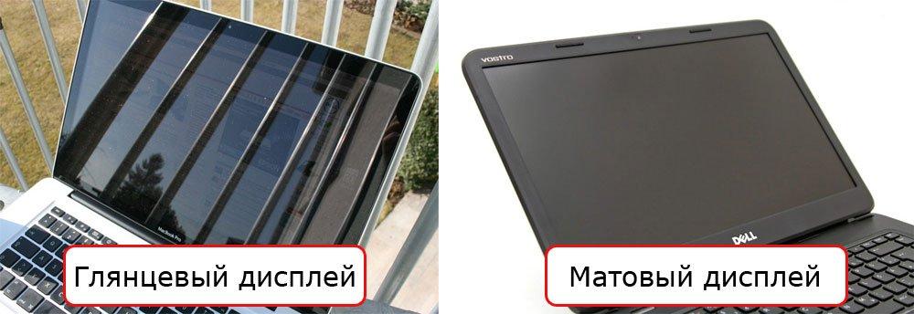 Глянцевый и матовый дисплеи ноутбука