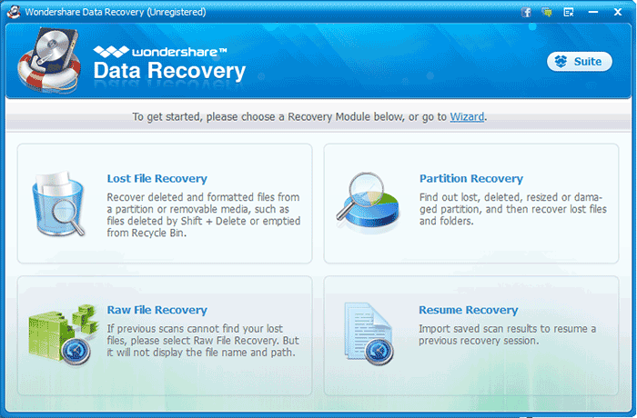 Инструмент Wondershare Data Recovery для восстановления потерянных данных