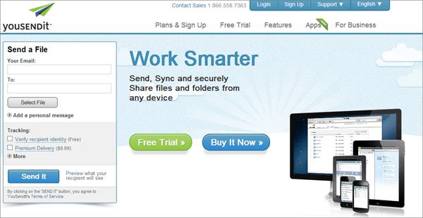 Интерфейс крупного сайта для безопасного обмена файлами через интернет YouSENDit
