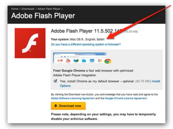 Интерфейс официального сайта Adobe Flash Player