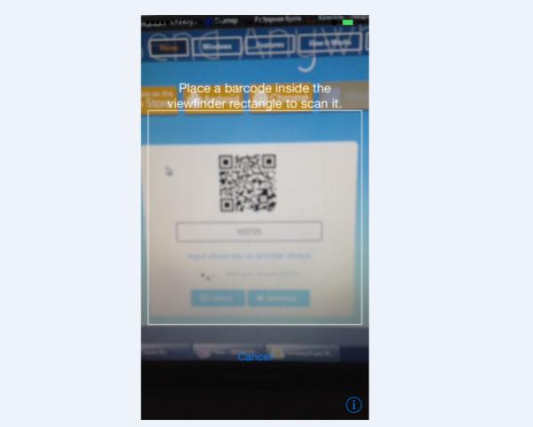 Использование телефона для скана QR-кода