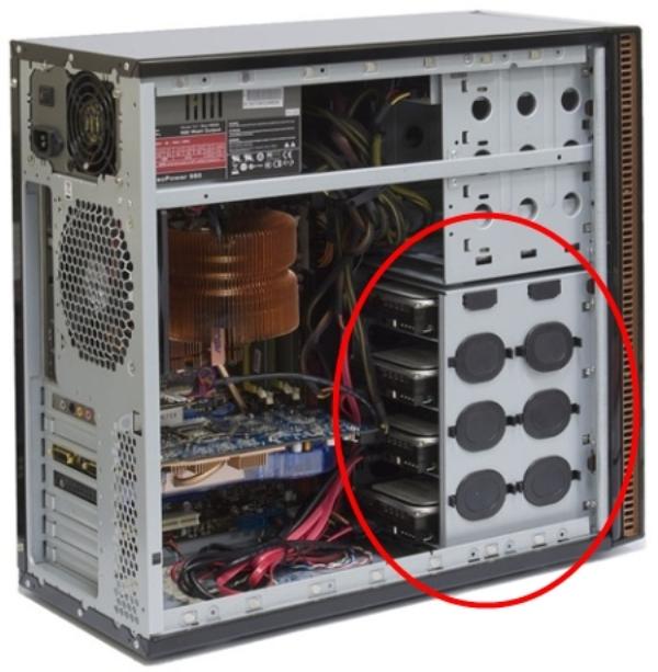 Изъятие внутреннего диска из системного блока