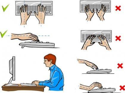 Как правильно расположить руки на клавиатуре