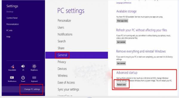 На экране «General PC Settings» находим раздел «Advanced startup» и нажимаем на кнопку «Restart now»