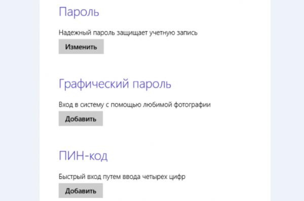 Настройки способа входа Windows 8
