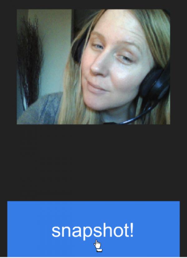Нажимаем «Allow», далее кликаем по синей кнопке «snapshot!» под дисплеем веб-камеры