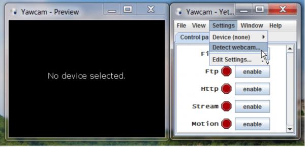 Нажимаем «Settings» и выбираем «Detect webca»