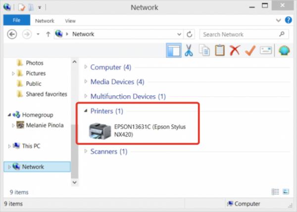 Нажимаем на «Сеть» в проводнике Windows видим подключенный принтер