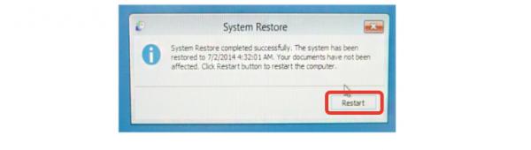 Нажимаем на кнопку «Restart»