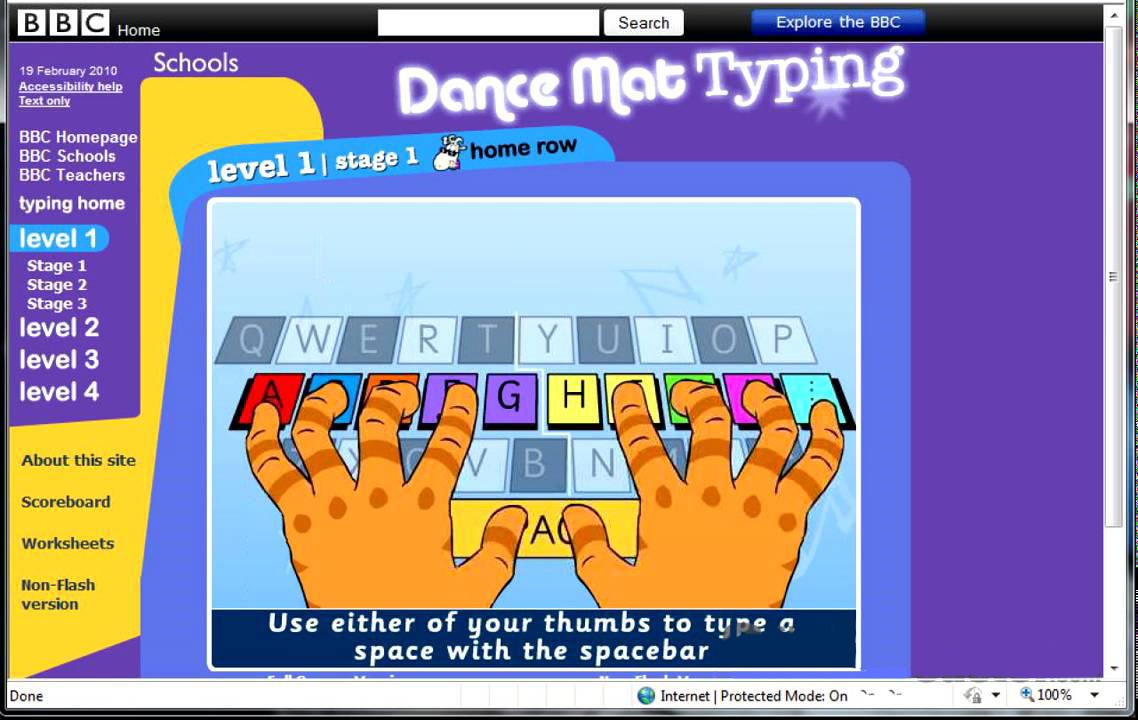 Обучающая игра Dance Mat Typing