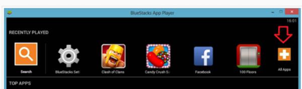 Открываем Bluestacks и нажимаем кнопку «All app»