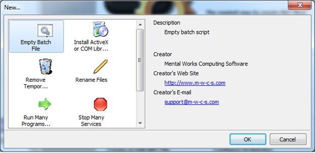 Отмечаем «Empty Batch File» и нажимаем «ОК»