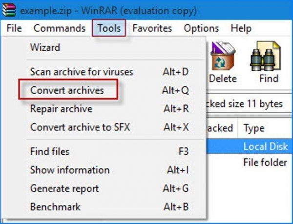 Переходим в «Tools» и нажимаем «Convert archives»