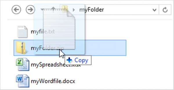 Перетягиваем файл в zip-файл