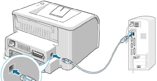 Подключаем принтер к компьютеру с помощью USB-кабеля