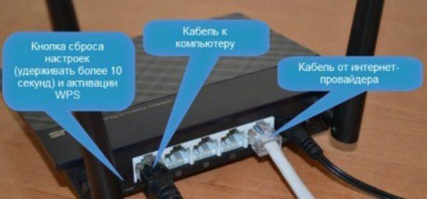 Подсоединяем к разъемам соответствующий сетевой кабель