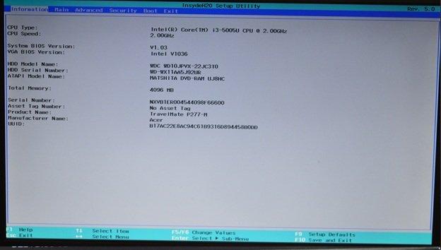 Раздел «Information» с необходимой информацией о модели ноутбука