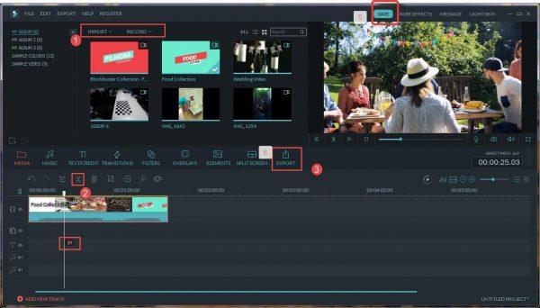 Ручное разделение большого видео в видеоредакторе Wondershare Filmora