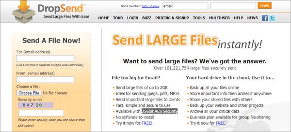 Сайт для отправки больших файлов DropSend