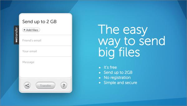 Сайт для передачи больших файлов We Transfer