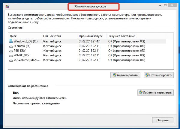 Система утилиты «Оптимизация дисков»