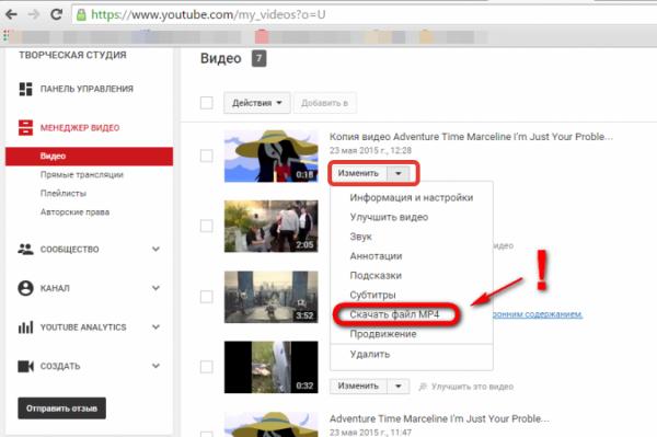 Скачиваем видео нажав кнопку «Изменить» и выбираем «Скачать файл mp4»