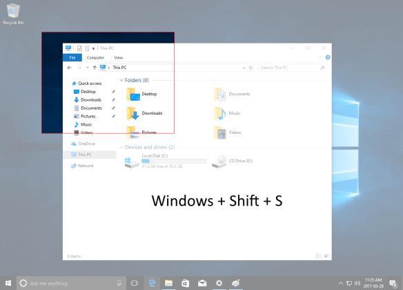 Скриншот с помощью Win + Shift + S