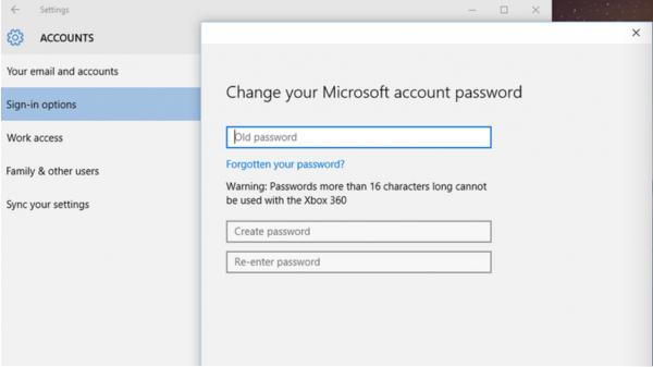 Смена пароля через «Настройки ПК»