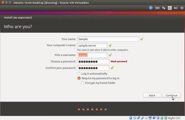Создаем учетную запись Ubuntu и нажимаем на «Continue»