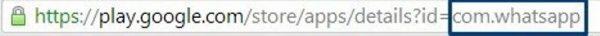 URL-адрес магазина Google Play, синий цветной прямоугольник показывает имя пакета