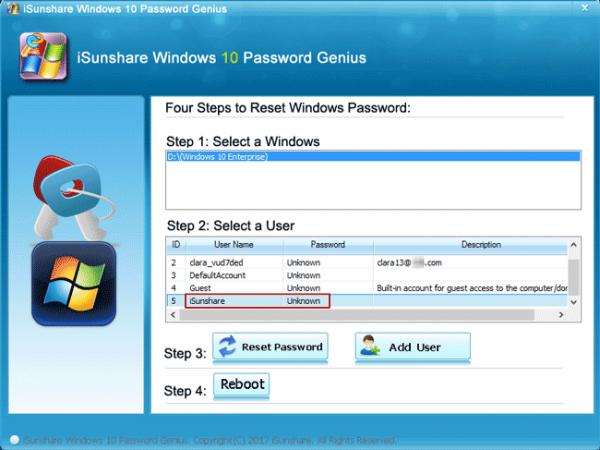 В графе «Step 1» нажимаем на имя своего компьютера, в графе «Step 2» — на имя учетной записи, кликаем на кнопку «Reset Password»