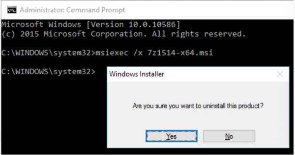 В командной строке вводим команду msiexec x и название msi-программы, нажимаем «Да»