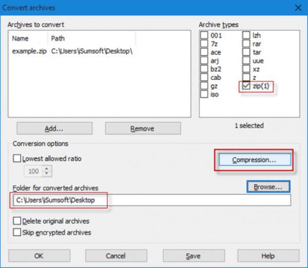 В окне «Convert archives» в разделе «Archive types» указываем место сохранения архива, затем нажимаем «Compression»
