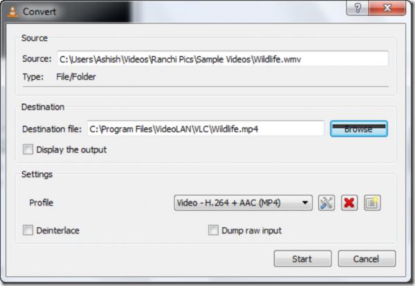 В окне «Convert» выбираем папку назначения, имя файла, нужный профиль видео и нажимаем кнопку «Start»