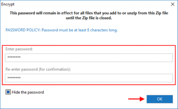 В окне «Encrypt» вводим пароль и нажимаем «ОК»