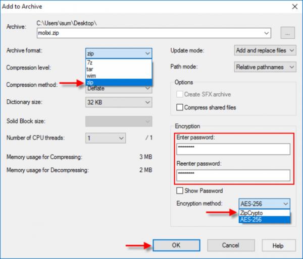 В опции «Archive format» выбираем «zip», в разделе «Encryption» вводим пароль в первом и втором поле, затем выбираем формат и нажимаем «ОК»