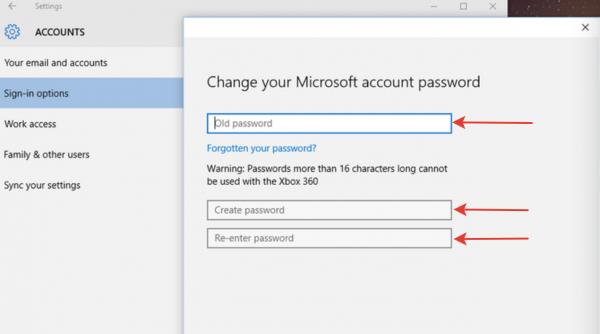 В открывшемся окне вводим старый пароль, затем задаем новую комбинацию в графах «Создать новый пароль» и «Повторить пароль»