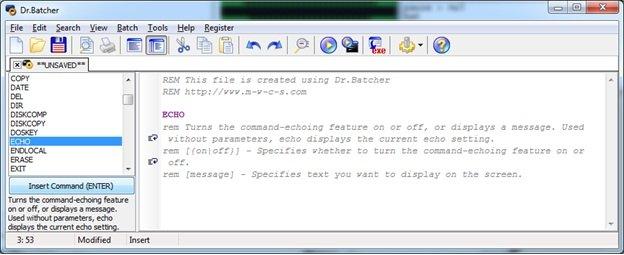 В правом фрейме имеются ключевые команды, которые можно использовать при написании кода