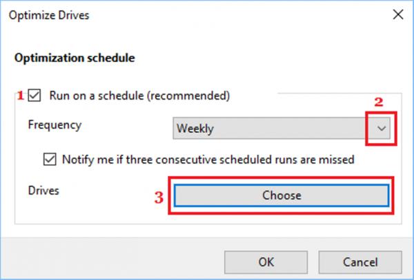 В разделе «Частота» выбираем один из вариантов, ставим флажок «Выполнять по расписанию» и нажимаем вкладку «Выбрать»