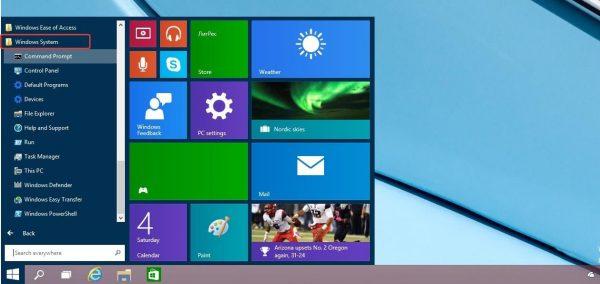 Входим в меню «Пуск», открываем папку «Windows System», затем «Панель управления»