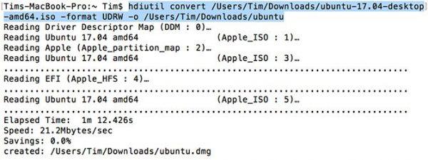 Вводим команду hdiutil convert -format UDRW -o ubuntu.iso ubuntu-1xxxxxx.iso (вместо xxxxxx укажите путь к ISO фалу) и нажимаем Enter