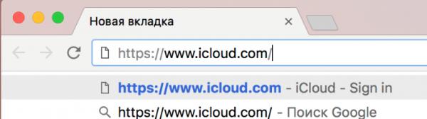 Вводим в адресной строке браузера следующую строчку «www.icloud.com» и нажимаем клавишу Enter